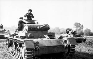 Polen, Panzer III mit Panzersoldaten